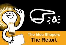 The Idea Shapers: The Retort / In her 2016 book The Idea Shapers, Brandy Agerbeck makes visual thinking attainable and enjoyable through a set of 24 Idea Shapers. The Retort is the fourth visual thinking concept in the first step, CHUNK.