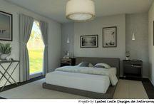 Quarto tons de cinza / Projeto by Isabel Leite - Este projeto foi idealizado para um casal amante de cinza.Todo quarto recebeu variações de cinza, tornando-se monocromático. Para o ambiente ficar aconchegante e acolhedor, a roupa de cama, quadros e paredes deram o contraste.