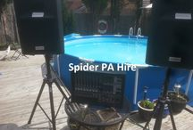 PA Hire and events pics / Spider Music Ltd offer a huge selection of PA, Backline, lighting and stage gear for bands, singers, gigs, events, weddings and business in the South Wales area.