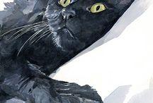macskák melletünk és rajzokon