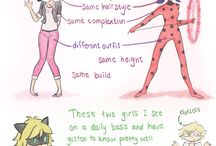 "Miraculous Ladybug / ""Ladybubs has the power to get lucky and Cat Nerd has the power to KILL ANYTHING HE TOUCHES."""