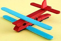 Aeroplane from ice block sticks and wooden peg