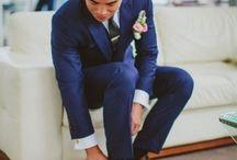 traje azul -zapatos marron