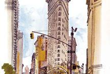 Urban watercolor sketches