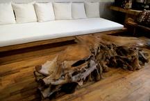 Coffee Tables / St. Barts   Organic   Teak and Cracked Resin   Triple Burnt Black