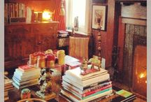 Wood paneled dens...... / A room with wood paneling that you can't paint! Decorating....