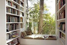 estantes e cantinhos de leitura