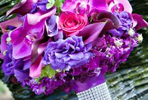 Lilac and blue bouguets