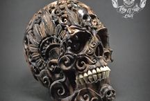 Memento Mori Hand Carved Human Skull Filigree Style / Find the skull on etsy