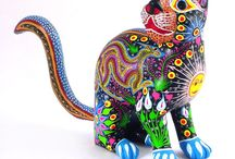 Painted wooden carved animals