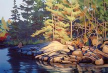Group of Seven Artwork  / A collection of artwork from the Group of Seven.  In Parry Sound, we see these images around us every day.  It's still cool to see it on a canvas / by Sunny Point Resort, Cottages & Inn