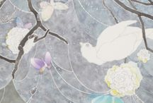 YUKO SOMEYA / Japanese artist - is known for her ethereal works composed of transparent layers of color, delicate contour lines, and minute details painted on traditional JAPANESE washi paper