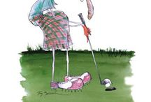 """Humourous Golf Caricatures, Cartoons &  All Things Related /  A A Milne said """" Golf is so popular simply because it is the best game in the world at which to be bad !"""" . Whether he was correct or not is highly contentious.But  at Creatively Different, we believe, a humourous attitude is always the best approach.Explore your humourous side with these quirky caricatures created by Tony Fernandes. You might just want to consider them as suitable images to have printed on to your window blinds,for your home or your local golf club."""