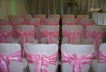 Baby Pink Taffeta on Ivory Lycra / Simply pink Taffeta on Ivory Lycra by www.suffolkchaircovers.com