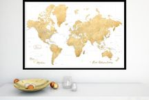~ Large and highly detailed world map prints on paper ~