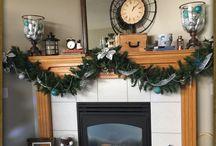 Rustic Christmas fireplace
