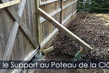 Construire une Clôture - Idée de Brace Support pour Poteaux / Étapes d'installation d'un support ou brace anti-vent pour renforcer une clôture en bois. Instructions détaillées avec photos.