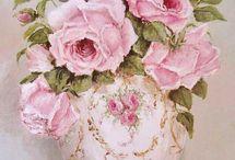 βαζο λευκο ροζ γιαλιστερο-ντεκουπαζ