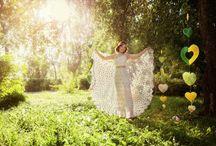 Crochet Gold and White Wedding Dress