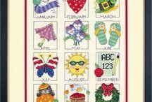 kalendarze 4pory roku  haftowane / ...
