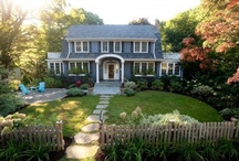 Outdoor spaces / Porches, front yards, walkways, front paths, benches, Muskoka chairs, swings, hammocks, umbrellas, patios, pots, garden sheds, flower beds, lanterns, decks