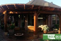 """Our Work / An Oklahoma based company, """"Green Okie"""" designs and creates custom Pergolas, outdoor Fireplaces and Kitchens. Contact us today for a free estimate and let us help you achieve your vision and dreams for your outdoor haven."""