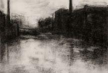 Charcoal Landscape Drawings