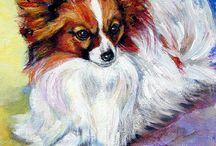 Papillon Dog Art / My Art of the butterfly dog, the Papillon Dog. Lyn Hamer Cook, artist