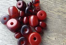 Ethiopian antique resin beads and antique German Bake;ite beads