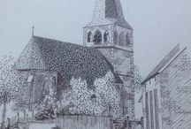 Ink drawings Borne 1900-1950 / old city sights en buildings in Borne, Overijssel, Holland during period between 1900-1950