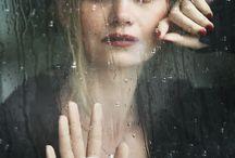 ladies in the rain