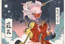 Samurai Style Madafakas. / VIdeogames drawn in samurai style.