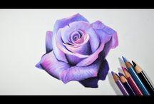 Flower pencil art tutorials