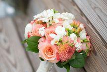 peach & green wedding