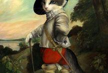 Art peinture (Galerie de chats) / Portraits de chats peints par Susan Herbert, Melinda Cooper, Sylvia Karle Marquet's, Carol Lew...
