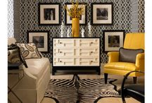 Black, yellow, gray living room / by Jo Ann Rice
