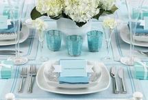 True blue wedding themes / Blue themed wedding arrangements for receptions etc.  Get some good ideas :)