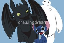 Stitch, Banguela, Baymax e Groot