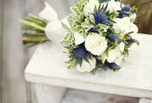Flowers for Blue Bridesmaid Dresses