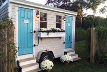 Petite Series Luxury Loo / A smaller version of our Cottage Series Luxury Loo.  A petite New England cottage exterior with an interior equivalent to that of a luxury hotel.