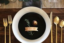 Christmas black gold table setting