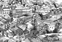 Cartella di Francesco Carta, artista sardo contemporaneo / La bacheca contiene disegni a matita; disegni a china; acquerelli, olio.grafica e illustrazioni. In particolare archeologia e arte romanica.