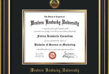 Western Kentucky University Diploma Frames & Gifts! / Official WKU Diploma frames. Exquisitely crafted to exacting specifications for the WKU diploma. Custom framed using hardwood mouldings and all archival materials, including UV glass to prevent fading from sunlight AND indoor incandescent lighting! Each frame exceeds Library of Congress standards for document preservation and includes a 100% lifetime guarantee, ensuring that a hard-earned achievement will be honored and protected for generations. Makes a thoughtful and unique graduation gift!