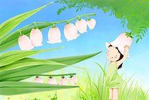 Wall paper for little girls / Mon muguet rose