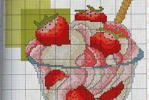 Hafty krzyżykowe - owoce,warzywa