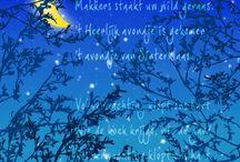Zie de maan schijnt ... / Bij de Germanen was Wodan ook maangod: de maan werd elke ochtend in een zak onder de aarde door gedragen, om de volgende nacht weer zijn reis langs de hemel te maken. Sinterklaas vertegenwoordigt volgens de mythologische theorie in navolging van Wodan de volle maan. Zwarte Piet staat voor de maan-die-je-niet-ziet: hij heeft de maan in de zak. Zo is hij een maanmythologisch wezen, de personificatie van de donkere (niet-zichtbare) maan. Hij is symbool voor de vreesaanjagende, donkere nachten.