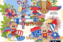 Freedom Kids Digital Scrapbooking Collection by Kathryn Estry / Adorable little kids are ready to celebrate the 4th of July or any American patriotic event.  Use these designs for your scrapbooking and card-making crafts.  This set would work any time of the year but especially for the 4th of July, Memorial Day, Veterans Day, and Flag Day.