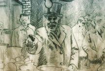 my work Market trader #drypoint #etch #printmaking #london #art #draw #drawing #etching #print #intaglio #intaglioprint