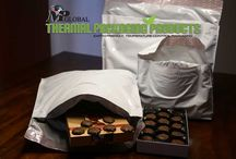 Thermal Chocolate Shipper / Eco-smart, foam-free, temperature control mailers consist of a tough waterproof outer film covering a thick layer of enhanced bio-degradable cotton insulation. Chocolates stay unmeltedly delicious.