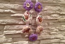 Collane / Collana di stoffa con fiori
